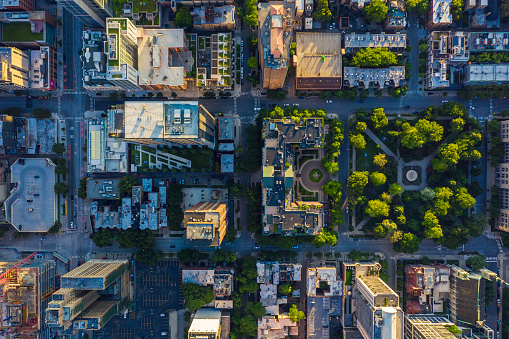 Top down aerial view of Chicago Downtown urban grid with park. Late afternoon light
